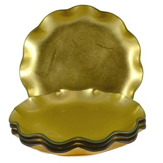Tango Gold Ruffle Glass Dessert Plates (set Of 4) (Gold, design features graceful ruffled edge.MaterialGlass.Dimensions Approximately 8 inches diameter. Care Hand wash with non abrasive sponge and detergent. Glass.Dimensions Approximately 8 inches dia
