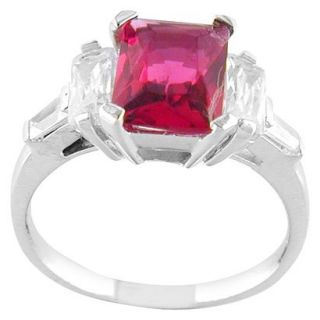 Hot Pink Silver Plated Square Ring   7.0
