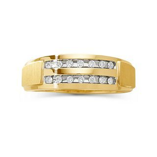 Mens 1/5 CT. T.W. Diamond 2 Row Wedding Band, Yellow/Gold