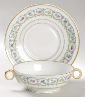 Haviland Pompadour Blue & Green H (Gold Trim) Footed Cream Soup Bowl & Saucer Se