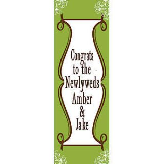 Wedding Shower Personalized Vertical Vinyl Banner    202 X 72 Inches, Green, Red, White