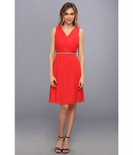 Donna Morgan V Neck Short Chiffon Dress Womens Dress (Red)