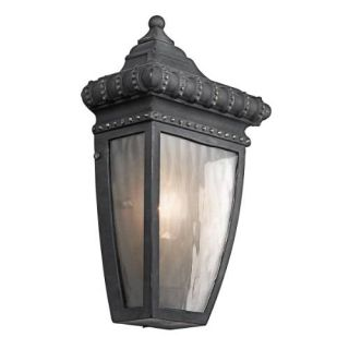 Kichler 49130BKG Outdoor Light, Classic (Formal Traditional) Wall Lantern 1 Light Fixture Black with Gold