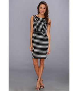 Ivy & Blu Maggy Boutique Sleeveless Striped Sheath w/ Inset Dress Womens Dress (Black)