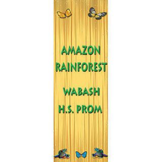 Butterfly And Frogs Vertical Vinyl Banner    54 X 18 Inches, Green, White, Yellow