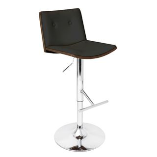 Lustra Wenge Bent Wood Adjustable Barstool (Black/brownFinish Chrome footrest, base and poleSeat height Adjusts from 27.5 inches up to 32.5 inches highSeat dimensions 16.5 inches wide x 16 inches deepDimensions 42 inches high x 21 inches wide x 17 inc