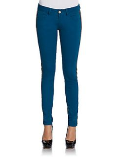Faux Leather Trimmed Jeans   Blue