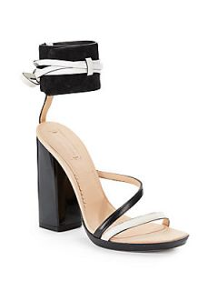 Suede & Leather Ankle Strap Sandals   Chalk Black