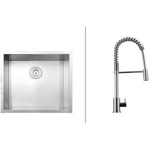 Ruvati RVC2591 Combo Stainless Steel Kitchen Sink and Chrome Faucet Set