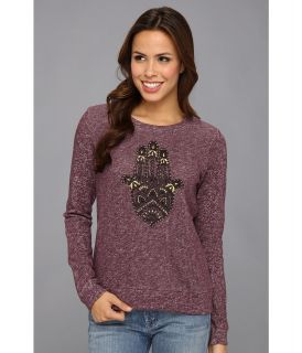 Lucky Brand Hamsa Hand Pullover Womens Long Sleeve Pullover (Purple)