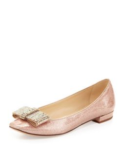 Womens niesha flat with sparkle bow, rose gold   kate spade new york