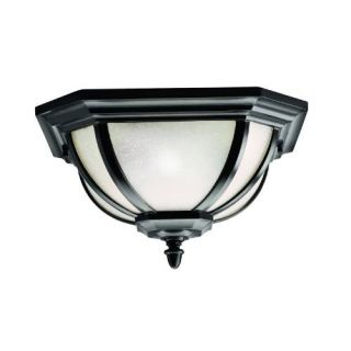 Kichler 9848BK Outdoor Light, Transitional Flush Mount 2 Light Fixture Black (Painted)