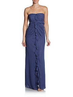 Strapless Ruffle Front Gown   Blue Fog