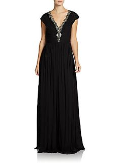 Beaded V Neck Silk Gown   Black