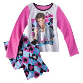 Justin Bieber Girls 2 Piece Long Sleeve Pajama Set   Blue 6