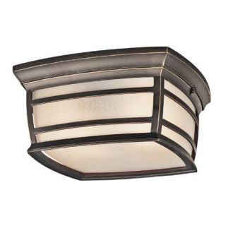 Kichler 49277RZ Outdoor Light, Transitional Flush Mount 2 Light Fixture Rubbed Bronze