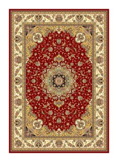 Lyndhurst Collection Traditional Red/ivory Rug (53 X 76)