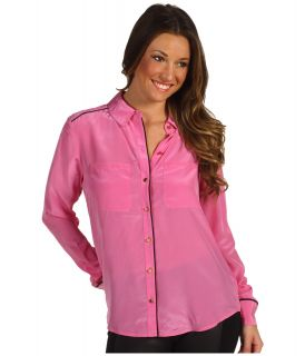 Juicy Couture Silk CDC Shirt Womens Long Sleeve Button Up (Pink)