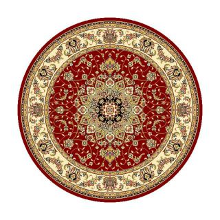 Lyndhurst Collection Red/ Ivory Oriental Rug (8 Round) (RedPattern OrientalMeasures 0.375 inch thickTip We recommend the use of a non skid pad to keep the rug in place on smooth surfaces.All rug sizes are approximate. Due to the difference of monitor co