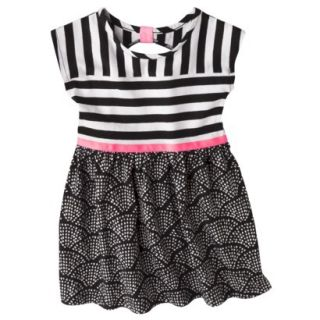 Circo Infant Toddler Girls Short Sleeve Striped Dress   Black/Pink 12 M