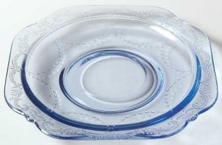 Indiana Glass Recollection Blue Saucer Only   Blue,Pressed,Scroll Design