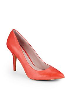 Hallee Point Toe Leather Pumps   Orange