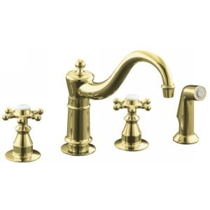 Kohler K 158 3 PB Antique Two Handle Kitchen Faucet with Sidespray