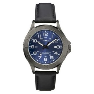 Timex Mens Silver Stainless Steel and Black Leather Strap Watch with Blue Dial