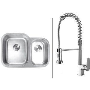 Ruvati RVC1541 Combo Stainless Steel Kitchen Sink and Chrome Faucet Set