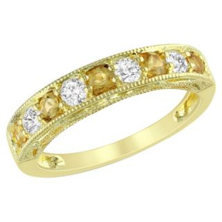 Yellow Plated Silver 5/8ct Citrine and Created White Sapphire Ring