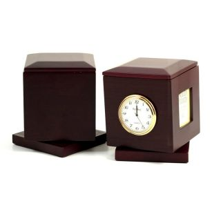 Bey Berk International Swivel Frame Box with Clock and Personalization Plate