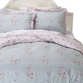 Simply Shabby Chic Faded Paper Rose Duvet Cover Cover Set   Blue (Twin)
