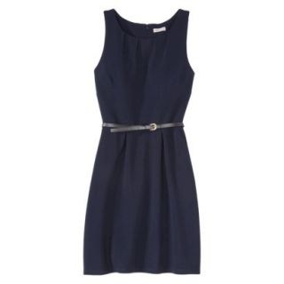 Merona Womens Textured Sleeveless Belted Dress   Xavier Navy   XXL