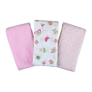 Summer Infant SwaddleMe 3 pk. Muslin Blankets   Bugs and Butterflies, White/Pink
