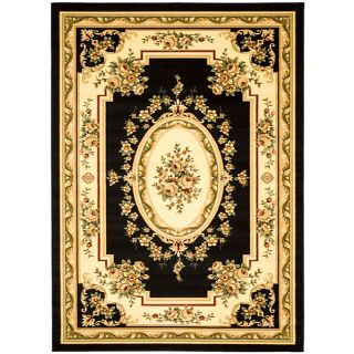 Lyndhurst Collection Black/ Ivory Rug (8 X 11)