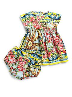 Dolce & Gabbana Infants Two Piece Floral Wheel Dress & Bloomers Set   Aqua Prin