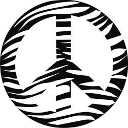 Vinyl Attraction Zebra Print Peace Sign Vinyl Wall Decal (Matte black Materials Vinyl Dimensions 23 inches tall x 23 inches wide )