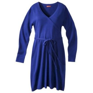Merona Maternity Long Sleeve V Neck Sweater Dress   Blue M