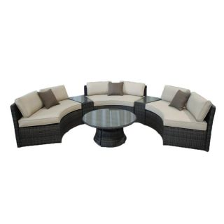 Kontiki Monte Carlo 6 Piece Conversation Group Benches with Side Tables &