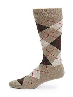 Argyle Mid Calf Socks   Taupe Brown