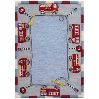 Nuloom Hand carved Kids Fire Trucks And Lights Blue Wool Rug (5 X 8)