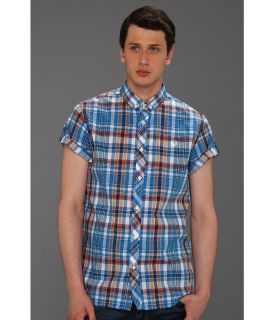 Fred Perry Poplin Madras Check Shirt Mens Short Sleeve Button Up (Blue)