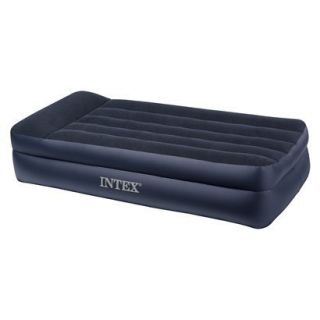 Intex Twin Pillowrest Double High Air Mattress with Built in Pump