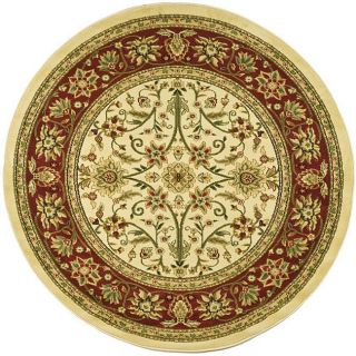 Lyndhurst Collection Majestic Ivory/ Red Rug (8 Round)