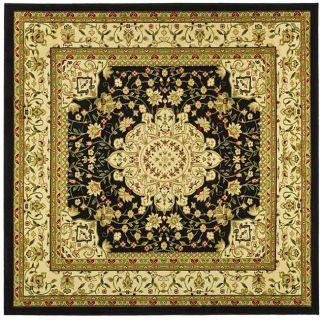 Lyndhurst Collection Mashad Black/ Ivory Rug (8 Square)