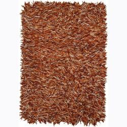 Hand woven Mandara Flat Cut Pile New Zealand Wool Rug (79 X 106) (Red, ivory, OrangePattern Shag Tip We recommend the use of a  non skid pad to keep the rug in place on smooth surfaces. All rug sizes are approximate. Due to the difference of monitor col