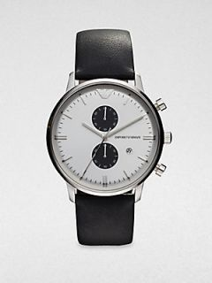 Emporio Armani Round Stainless Steel Chronograph Watch   Black White
