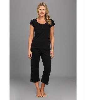 Kenneth Cole Reaction Fundamental Henley Capri Set Womens Pajama Sets (Black)