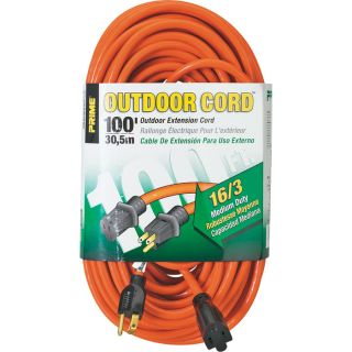 Prime Wire & Cable 125 Volt Outdoor Extension Cord   100ft., 16/3, Model