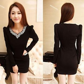 Womens Set Auger Nail Bead Princess Sleeve V Neck Long Sleeved Slim Dresses